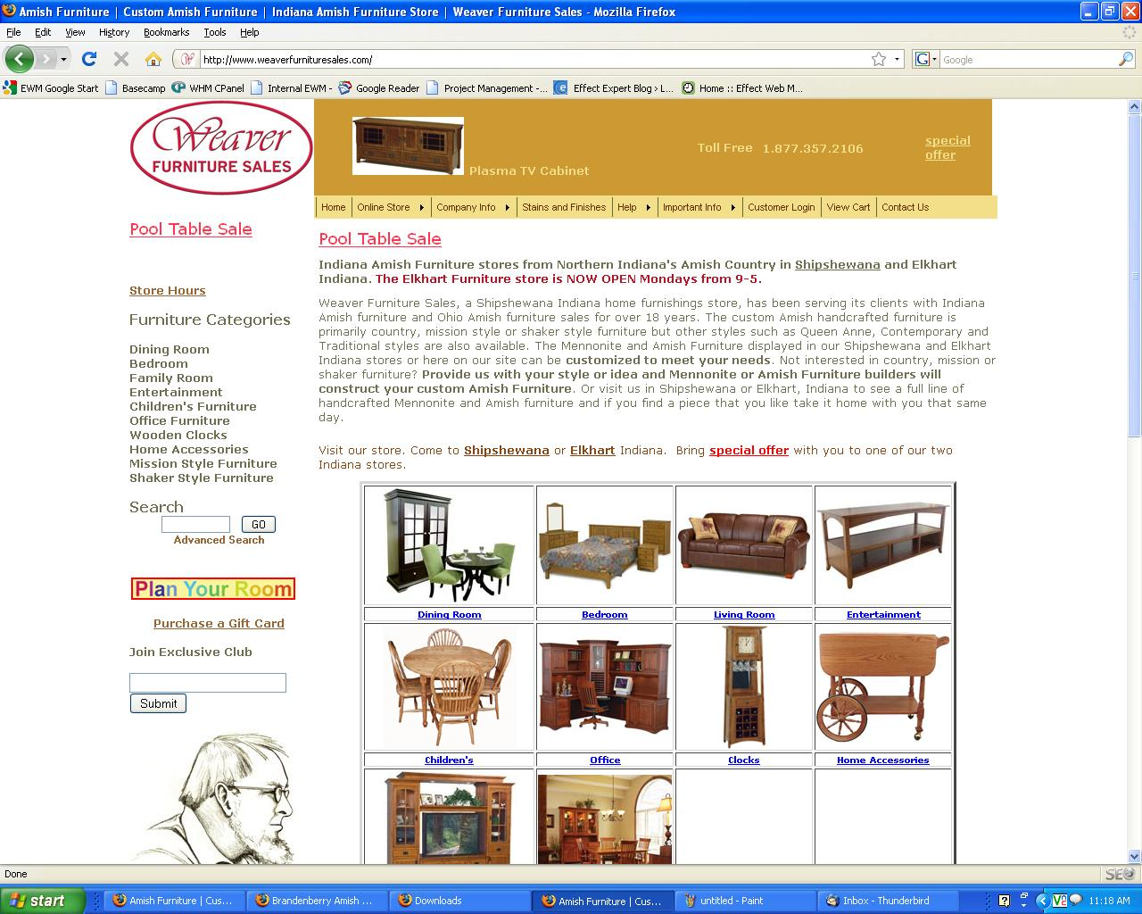 weaver furniture homepage online lead generation