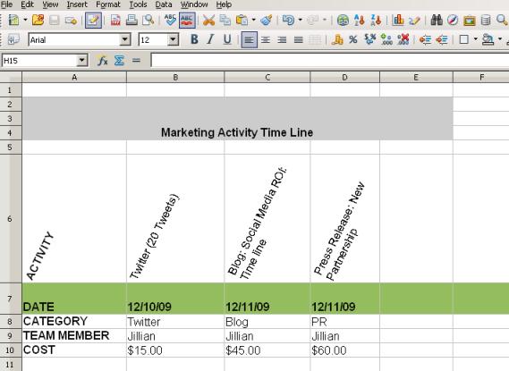 Marketing Activity Timeline Screenshot