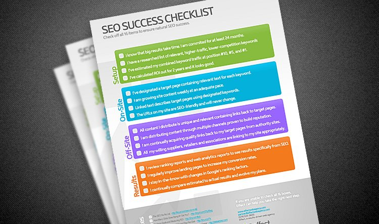 seo success checklist effect web agency indianapolis indiana