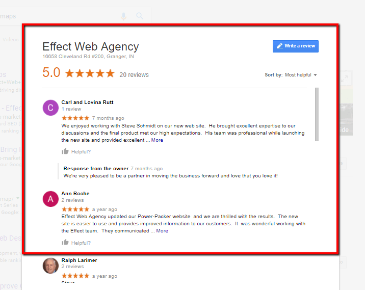 online reviews effect web agency