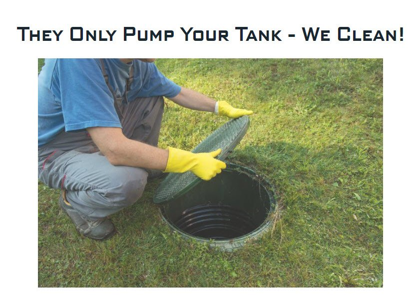 man cleaning septic tank