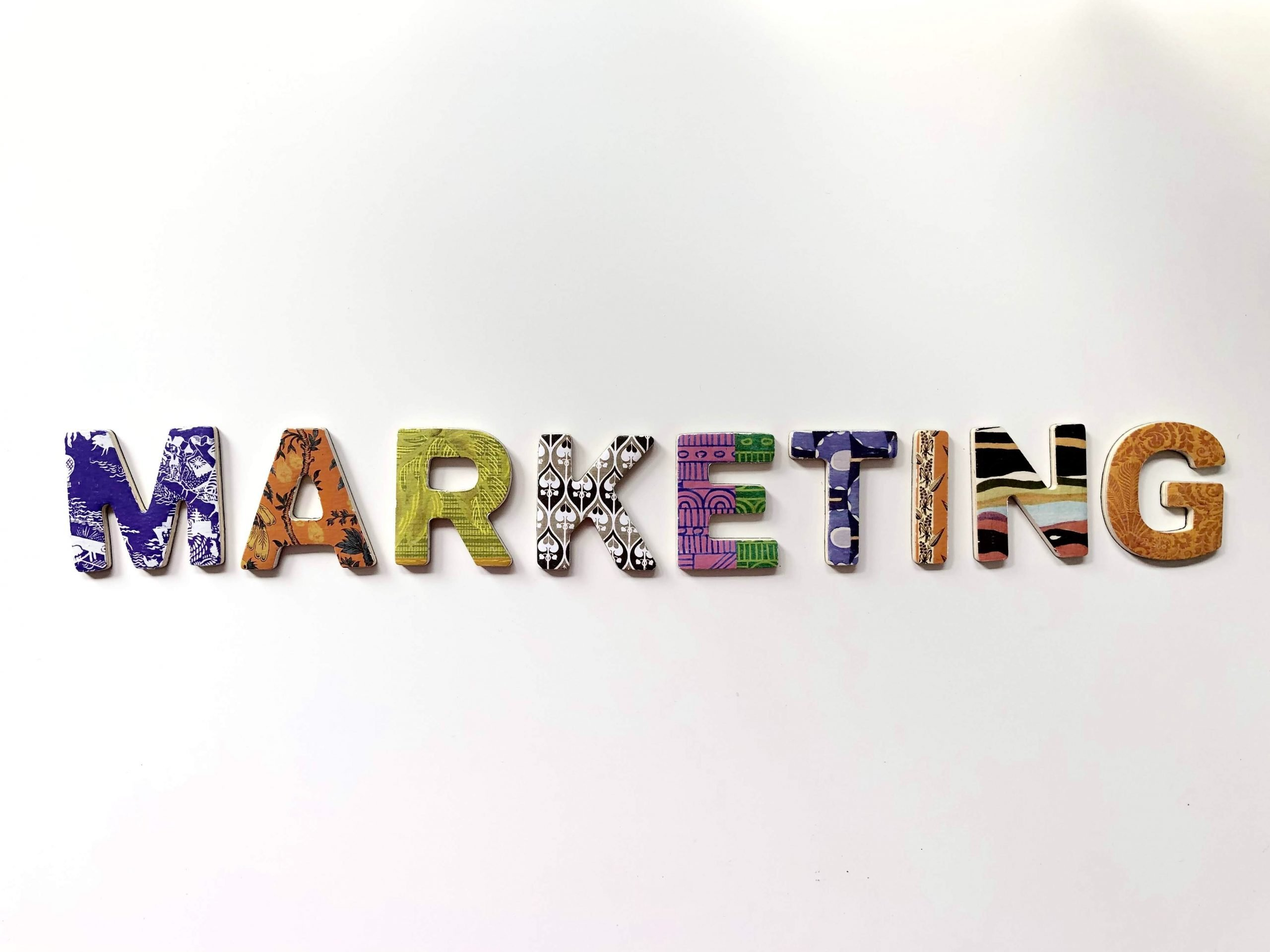 Marketing spelled with colorful letters
