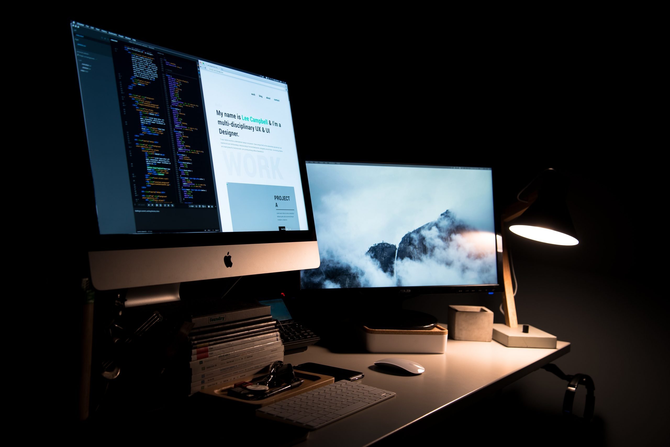 Two desktops working on web design
